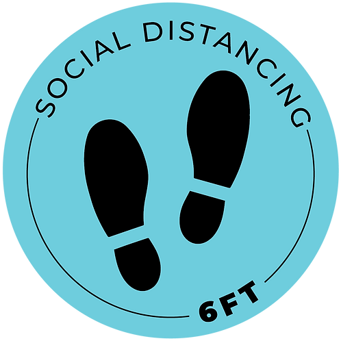"""6ft"" Distancing Reminder Stickers - Pack of 5"