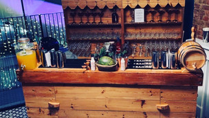 Vintage wooden bar and back bar