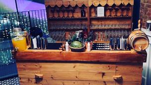 Vintage wooden bar and back bar