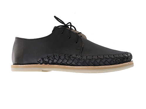 Black SAYULITA shoes braided leather casual trendy handmade in mexico designed in paris France