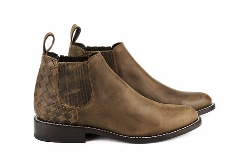 Ameca brown mexican men boots handmade hand braided velvet leather mexico paris france santiag cowboy chelsea boots