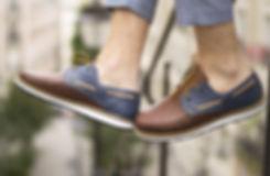 Chaussures cuir tressé mexique france artisanat fait-main homme bateau marin bleu marron