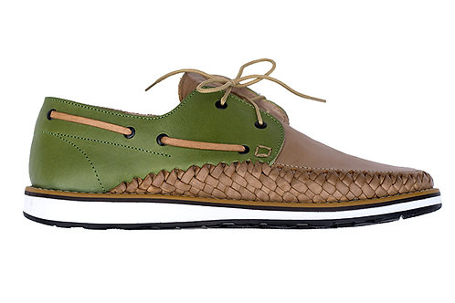 Beige Green PUERTO VALLARTA French sailor styleshoes braided leather handmade in Mexico design in Paris France
