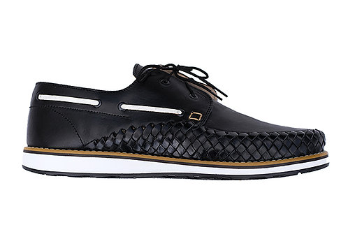 Black White PUERTO VALLARTA French sailor styleshoes braided leather handmade in Mexico design in Paris France