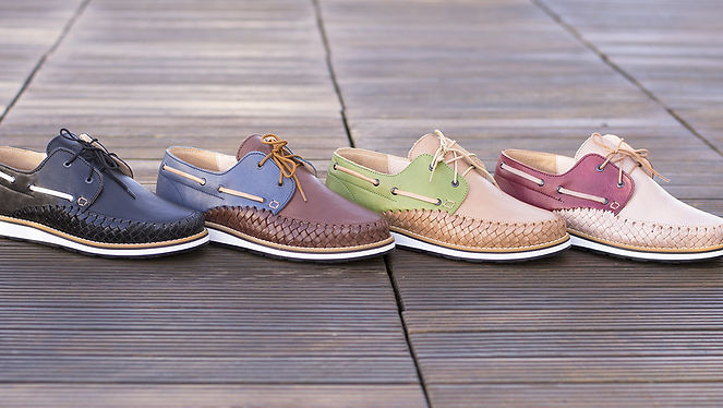 Chaussures cuir tressé mexique france artisanat fait-main homme bateau marin marron bleu