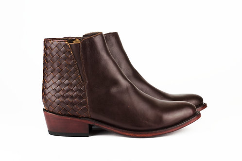 Tapalpa burgundy mexican women boots handmade hand braided smooth leather mexico paris france santiag picture eshop
