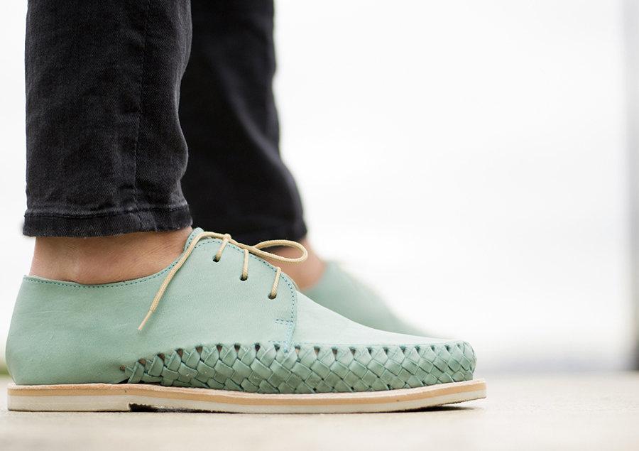 Chaussures cuir tressé mexique france artisanat fait-main homme femme mixte turquoise