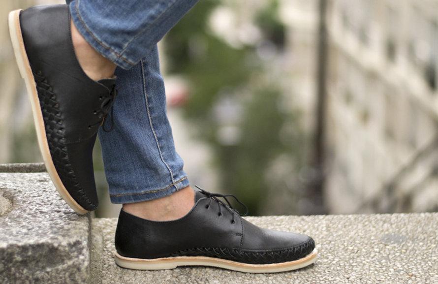Chaussures cuir tressé mexique france artisanat fait-main homme femme mixte