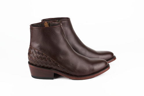 Mazamitla burgundy mexican women boots handmade hand braided smooth leather mexico paris france santiag profile