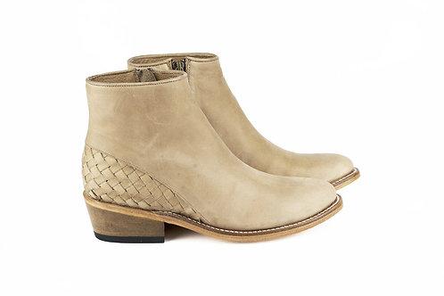 Mazamitla beige mexican women boots handmade hand braided velvet leather mexico paris france santiag profile