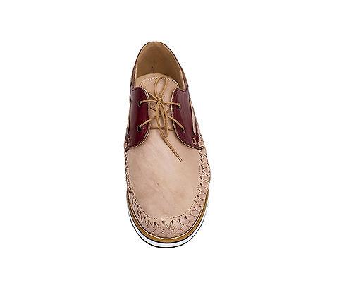 Chaussures cuir tressé mexique france artisanat fait-main homme bateau marin rose pâle