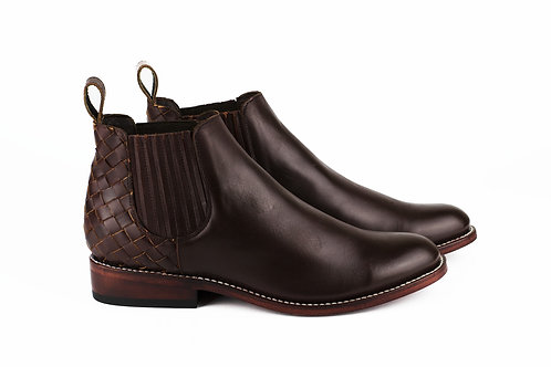 Ameca burgundy mexican men boots handmade hand braided smooth leather mexico paris france santiag cowboy chelsea boots