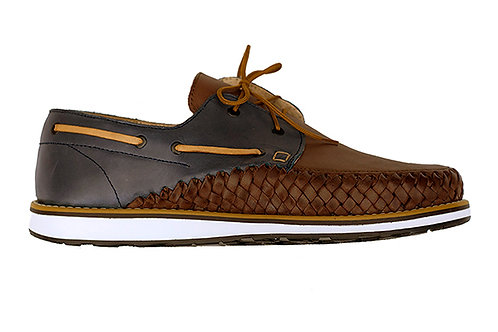 Brown Blue PUERTO VALLARTA French sailor styleshoes braided leather handmade in Mexico design in Paris France