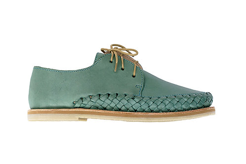 Turquoise SAYULITA shoes braided leather casual trendy handmade in mexico designed in paris France