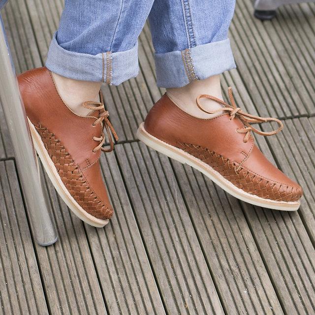 Chaussures cuir tressé mexique france artisanat fait-main homme femme mixte bordeaux