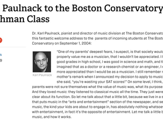 Karl Paulnack to the Boston Conservatory Freshman Class