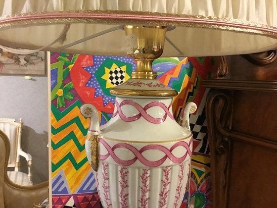 ランプ 陶器 ピンクストライプ