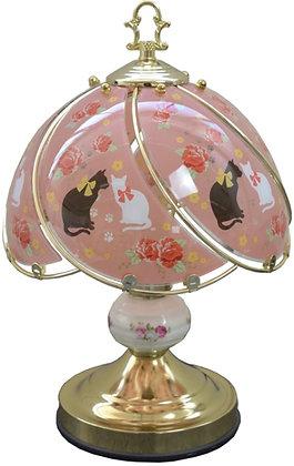 猫 薔薇のタッチランプ ピンク