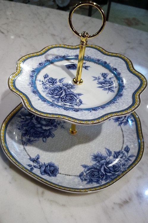 ブルーローズ2段皿