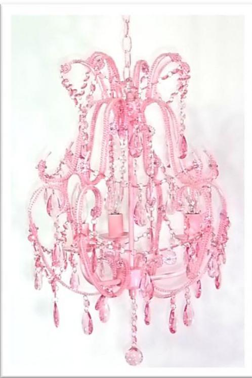 シャンデリア3灯ピンク