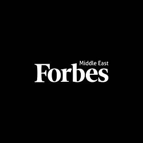 White text Forbes Middle East logo on a black background