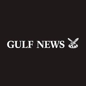 White text Gulf News logo on a black background