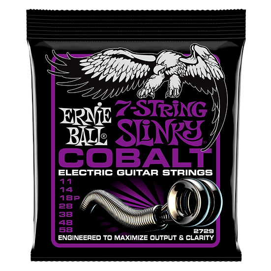 POWER SLINKY COBALT 7-STRING ELECTRIC GUITAR STRINGS - 11-58 GAUGE
