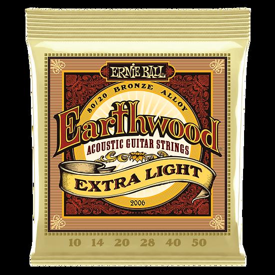 EARTHWOOD EXTRA LIGHT 80/20 BRONZE ACOUSTIC GUITAR STRINGS - 10-50 GAUGE