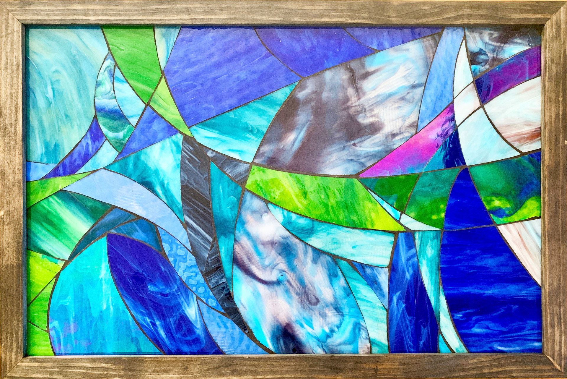 stained glass on backer board, 3 ft. x 2 ft.
