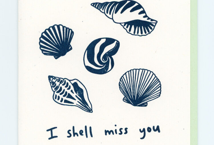 I Shell Miss You Note Card