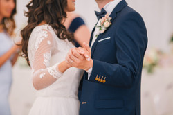 Bride and groom first dance. Closeup pic