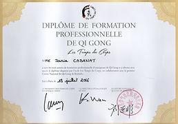 Diplôme de formation professionnelle de Qi Gong de Janie Cabanat