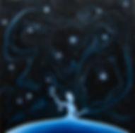 Huile sur toile, Peinture, Garance Monziès, Danse, danseuse, étoiles, amour, relation, rencontre, constellations