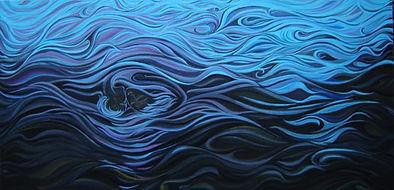 Huile sur toile, peinture, Garance Monziès, eau, amour, homme, femme, bleu, rivière