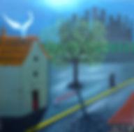 ange, arbre, rue, Saint Denis, maison, Garance Monziès, peinture, immeubles clair obscure