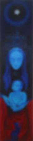 Huile sur toile, peinture, Garance Monziès, femme à l'enfant, chat, danse, danseuse, bleu, lune, étoiles, constellations, enfance, généalogie