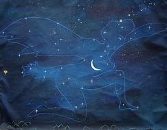 Huile sur toile, peinture, Garance Monziès, rêve, constellation, étoiles, Andrea Juhan, Lune, Miyazaki