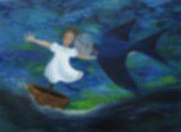 Huile sur toile, peinture, Garance Monziès, bateau, mer, enfance, oiseau, généalogie, tempête, thérapie