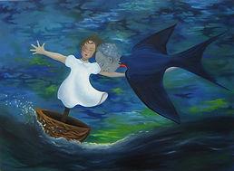 Huile sur toile, Peinture, Garance Monziès, enfance, généalogie, grand père, oiseau, mer, bateau