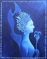 Peinture, huile sur toile, autoportrait, moyen age, mariée, magicienne, ombre, lumière, bleu, poésie