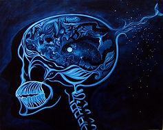Peinture, Garance Monziès, Huile sur toile, radiographie, cerveau, oiseau du paradis, crane, squelette