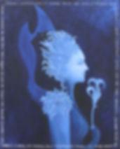 Osmose, Huile sur toile, autoportrait, bleu, moyen age, mariée, magicienne, ombre, lumière