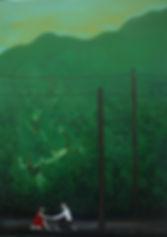 Huile sur toile, peinture, Garance Monziès, tomber amoureux, rêve, oiseau, homme, femme, relation