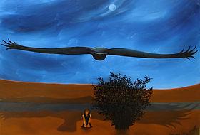 huile sur toile, peinture, Garance Monziès, autoportrait, rêve, oiseau, arbre, route, peur, lune