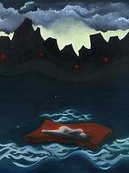 huile sur toile, peinture, Garance Monziès, Londre, Tamise, bateau, reflets, eau, rivière, femme, rêve
