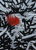 Huile sur toile, peinture, Garance Monziès, danse, danseuse, Openfloor, piano, thérapie, extase