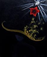 Huile sur toile, peinture, Garance Monziès, auto portrait, sorcière, fleur, The Great Escape, noir, arbre, chapeau, thérapie, enfance