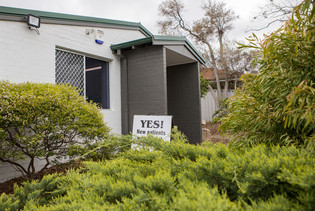 Entrance to The Woods Medical Centre & Skin Cancer Clinic, Via Hinderwell Street, Scarborough Perth WA.