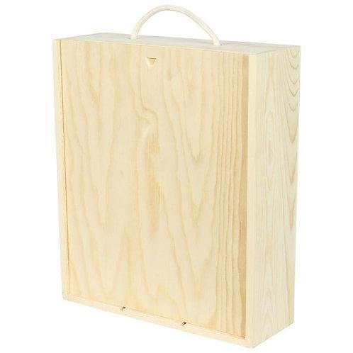 3 Bottle Wooden Sliding Lid Box