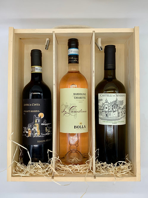 3 Bottle Deluxe Wine Bottle Gift Set